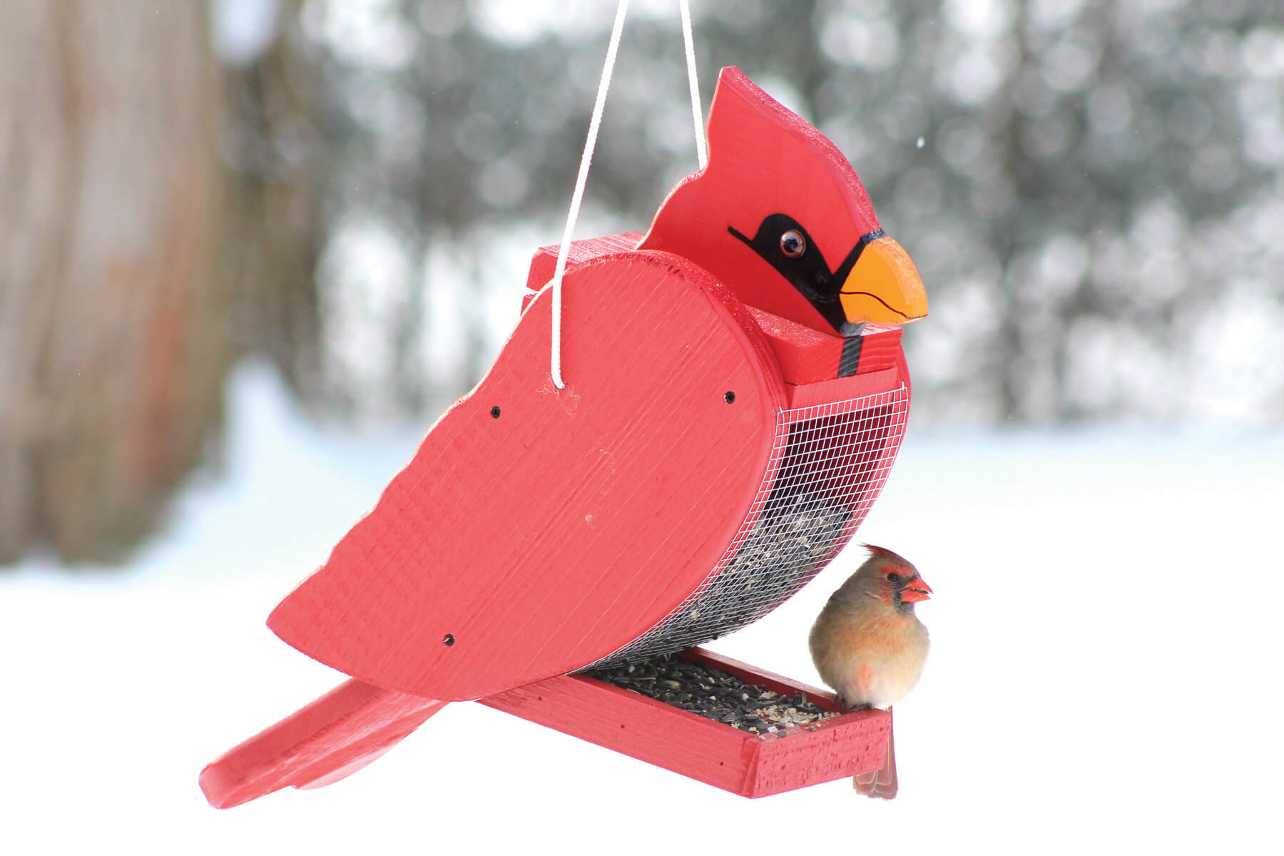78001 Pinebush Cardinal Shape Wood Feeder Cardinal