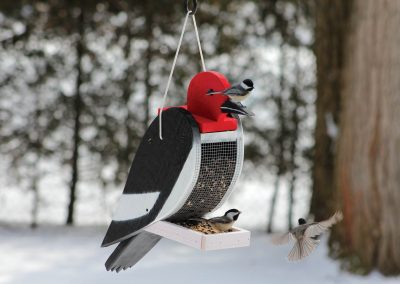 78003 Pinebush Woodpecker Shape Wood Feeder Chickadee