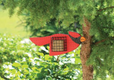 78091 Pinebush Cardinal Shape Wood Suet Feeder
