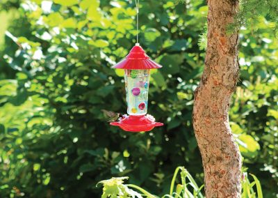 88026 Pinebush Handpainted Dots Glass Hummingbird Feeder