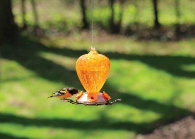 88044 Pinebush Art Glass Oriole Feeder with Metal Copper Plated Base