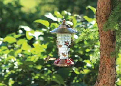 88142 Pinebush Flower Design Metal Glass Hummingbird Feeder