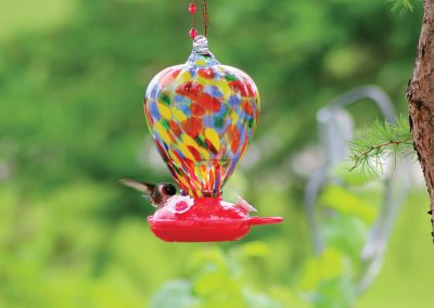 88183 Pinebush Art Glass Colour Balloon Glass Hummingbird Feeder